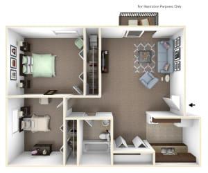 2-Bed/1-Bath, Marigold Floor Plan at Fox Pointe Apartments, East Moline