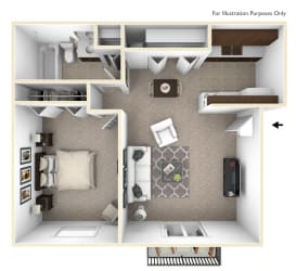 Primrose Floor Plan at The Village Apartments, Michigan, 48393