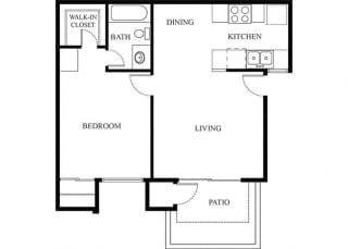 1 Bedroom 1 Bathroom Floor Plan 1 at Knollwood Meadows Apartments, California