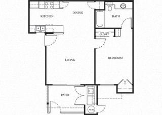 Plan 2 1 Bedroom 1 Bathroom Floor Plan at Knollwood Meadows Apartments, California, 93455