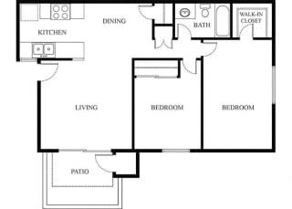 Plan 3 2 Bedroom 1 Bathroom Floor Plan at Knollwood Meadows Apartments, Santa Maria, CA, 93455