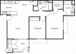 Plan 5 2 Bedroom 2 Bathroom Floor Plan at Knollwood Meadows Apartments, Santa Maria, 93455
