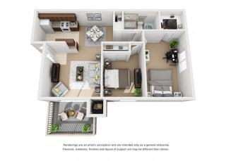 Plan 3 2 Bedroom 1 Bathroom 3D Floor Plan at Knollwood Meadows Apartments, California