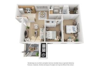 Plan 4 2 Bedroom 1 Bathroom 3D Floor Plan at Knollwood Meadows Apartments, California, 93455