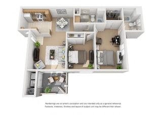 Plan 5 2 Bedroom 2 Bathroom 3D Floor Plan at Knollwood Meadows Apartments, Santa Maria, CA, 93455