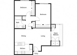 2 bed 2 bath floorplan at Sumida Gardens Apartments, California