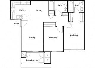 Plan 4 2 bed 2 bath floorplan at Sumida Gardens Apartments, Santa Barbara