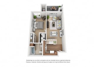 1 bed 1 bath Plan 1 floorplan at Sumida Gardens Apartments, Santa Barbara, CA