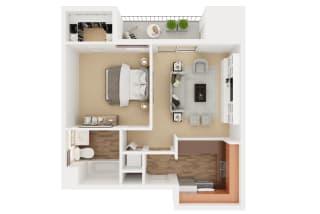 Auberge – 1 Bedroom 1 Bath Floor Plan Layout – 552 Square Feet