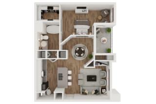 Bouchon  – 1 Bedroom 1 Bath Floor Plan Layout – 744 Square Feet