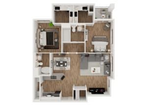 Grgich  – 2 Bedroom 2 Bath Floor Plan Layout – 1052 Square Feet