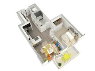 1 Bedroom 1 Bath (12) Floorplan at Catalyst, Chicago, IL, 60661