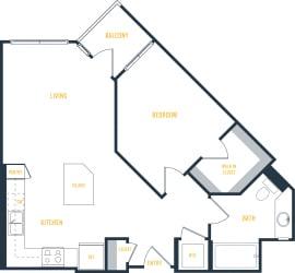 Plan 5 - 1 Bedroom 1 Bath Floor Plan Layout - 706 Square Feet