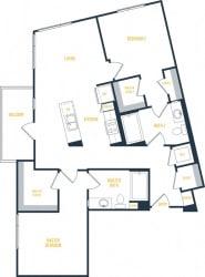 Plan 10 - 2 Bedroom 2 Bath Floor Plan Layout - 1092 Square Feet