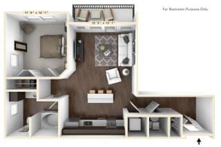 A2 - 1 Bed - 1 Bath Floor Plan at Avant Apartments, Carmel, 46032