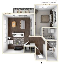 A5 - 1 Bed - 1 Bath Floor Plan at Avant Apartments, Indiana