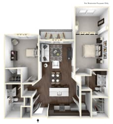 B1 - 2 Bed - 2 Bath With Den Floor Plan at Avant Apartments, Carmel, IN, 46032