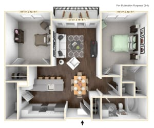 B2 - 2 Bed - 1 Bath Floor Plan at Avant Apartments, Carmel, IN