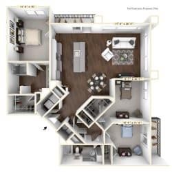 C1 - 3 Bed - 2 Bath Floor Plan at Avant Apartments, Indiana, 46032