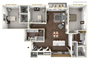 C2 - 3 Bed - 2 Bath Floor Plan at Avant Apartments, Carmel, IN, 46032