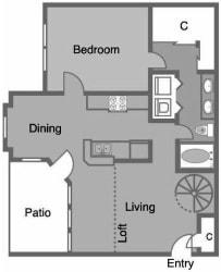 A5 Floor Plan at Greenbriar Park, Houston, TX, 77030