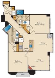 2 Bedroom 2A Floor Plan at Highland Park at Columbia Heights Metro, Washington, 20010