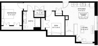 1+C Floor plan at Custom House, St. Paul