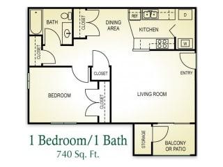 1 Bedroom 1 Bath Floor plan, 740 square feet