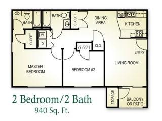 2 Bedroom 2 Bath Floor plan, 940 square feet