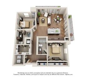 Two Bedroom   Two Bathroom Floor Plan at ALARA Uptown, Dallas, TX, 75204