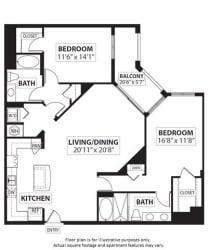 Floorplan at Windsor at Doral,4401 NW 87th Avenue, Miami,FL 33178