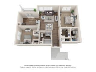 Keats Two Bedroom Two Bathroom Floor Plan at Fairlane Woods Apartments, Dearborn, MI, 48126