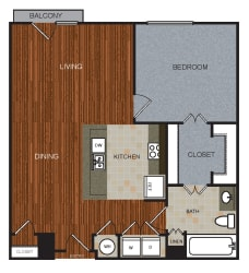 A6 Floor Plan at Berkshire Riverview, Austin, TX, 78741