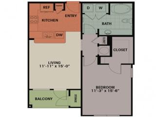 Floor Plan 1 Bedroom, 1 Bath 753 sqft A2