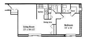 1 Bedroom 1 Bath floor plan, 575 to 650 square feet at Settler Place Apartments