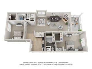 B6 3D Floor Plan at the Haven of Ann Arbor, MI, 48105