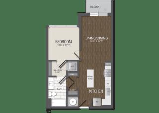 T.1A1 Floor Plan at TENmflats, Columbia, MD