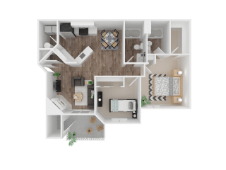 Two Bedroom Floor Plan  Apartment For Rent in Gresham OR 97080 l The Arden