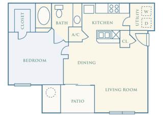 Grand Centennial Floor Plan A1 Eagle's Nest - 1 bedroom 1 bath - 2D