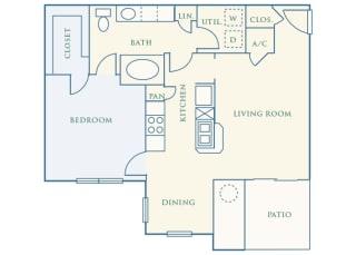 Grand Centennial Floor Plan A2 The Sundance - 1 bedroom 1 bath - 2D