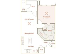 Quinn Crossing - Cedar Roughs - 1 bedroom - 1 bath - 2D floor plan