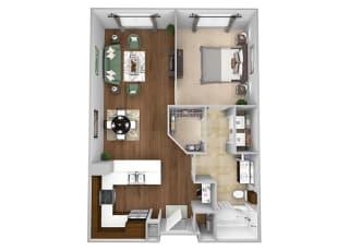 Cityplace Heights Apartments floor plan - A2 - 1Bedroom 1Bathroom - 3D