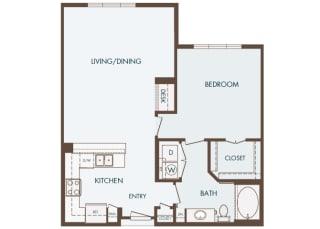 Cityplace Heights Apartments floor plan - A4 - 1Bedroom 1Bathroom - 2D
