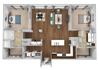Cityplace Heights Apartments floor plan - B5 - 2Bedroom 2Bathroom - 3D