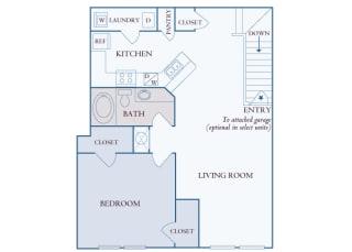 Carrington Place at Shoal Creek - A4 - 1 bedroom 1 bathroom - 2D