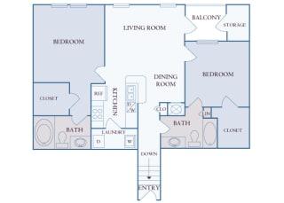 Carrington Place at Shoal Creek - B3 - 2 bedrooms 2 bathrooms - 2D