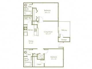 Floor Plan 2 Bedroom, 2 Bath 942 sqft