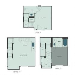 T-4 – 1 Bedroom 1.5 Bath Floor Plan Layout – 816 Square Feet