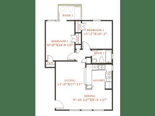 Beech floor plan, 2 bedrooms 1 bath, 796 sqaure feet at Britain Way Apartments