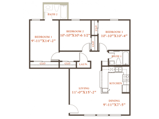 Elm floor plan, 3 bedrooms 1 bath, 968 sqaure feet at Britain Way Apartments